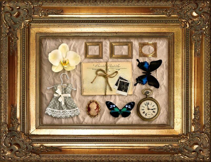 Cosas de la vendimia en marco de oro foto de archivo libre de regalías