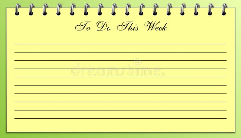 Cosas para hacer la lista este amarillo de la semana en verde imagenes de archivo