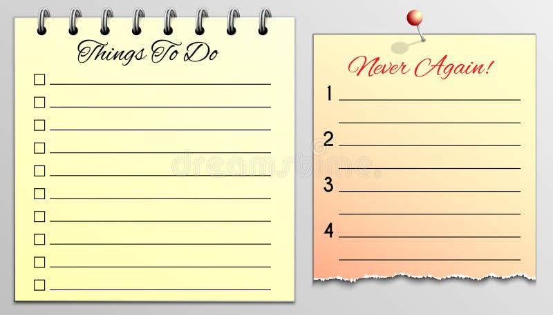 Cosas para hacer la lista y nunca otra vez foto de archivo
