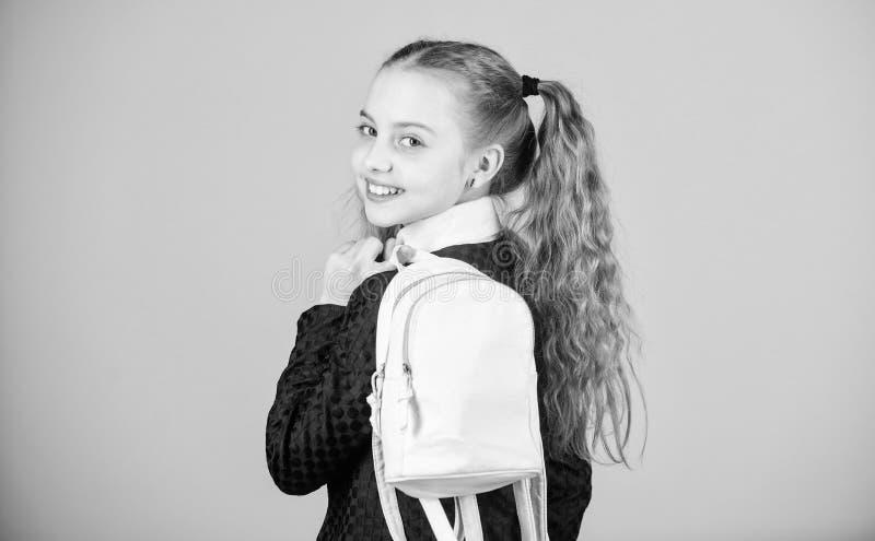Cosas que llevan en mochila Peinado de las colas de caballo de la colegiala con la peque?a mochila Aprenda c?mo mochila apta corr imagen de archivo