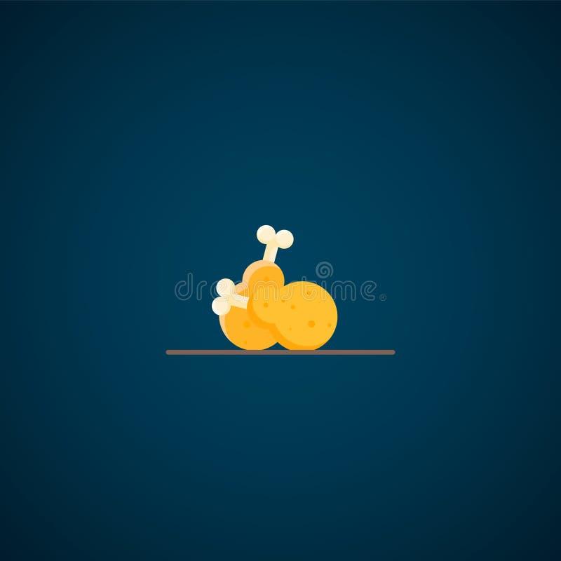Coscie di pollo icona, icona del pollo fritto di vettore royalty illustrazione gratis