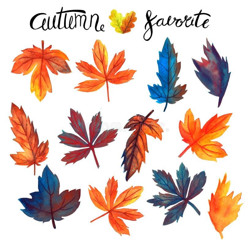 Cose degli elementi di progettazione di autunno dell'iscrizione dell'acquerello fissate Acquerello disegnato a mano illustrazione di stock