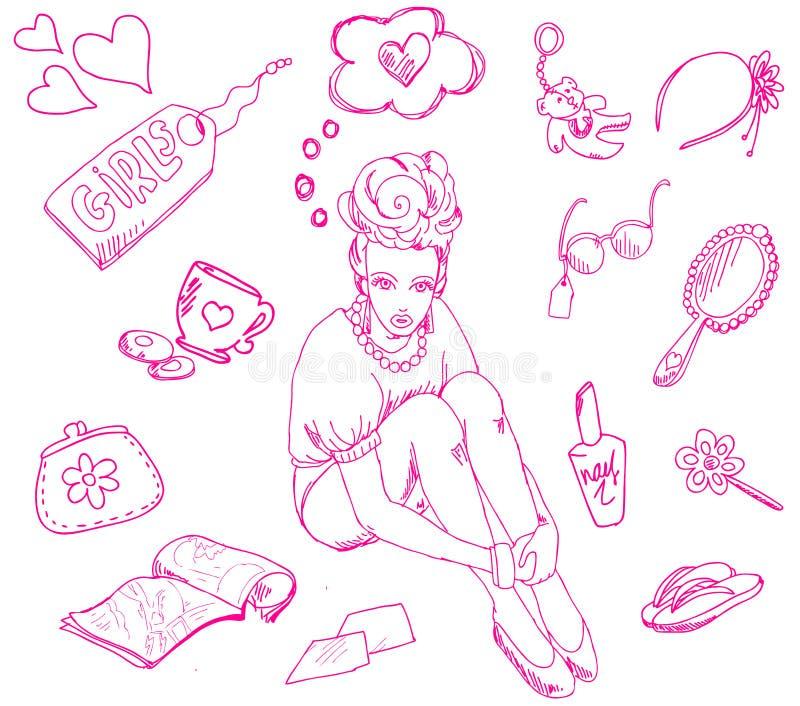 Cose della ragazza illustrazione vettoriale