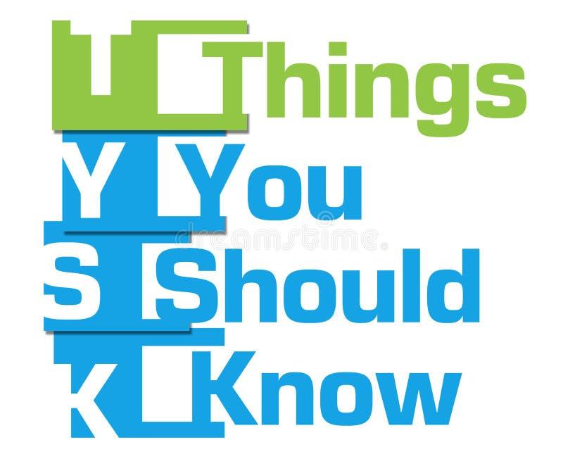 Cose dovreste conoscere le bande verde blu illustrazione di stock