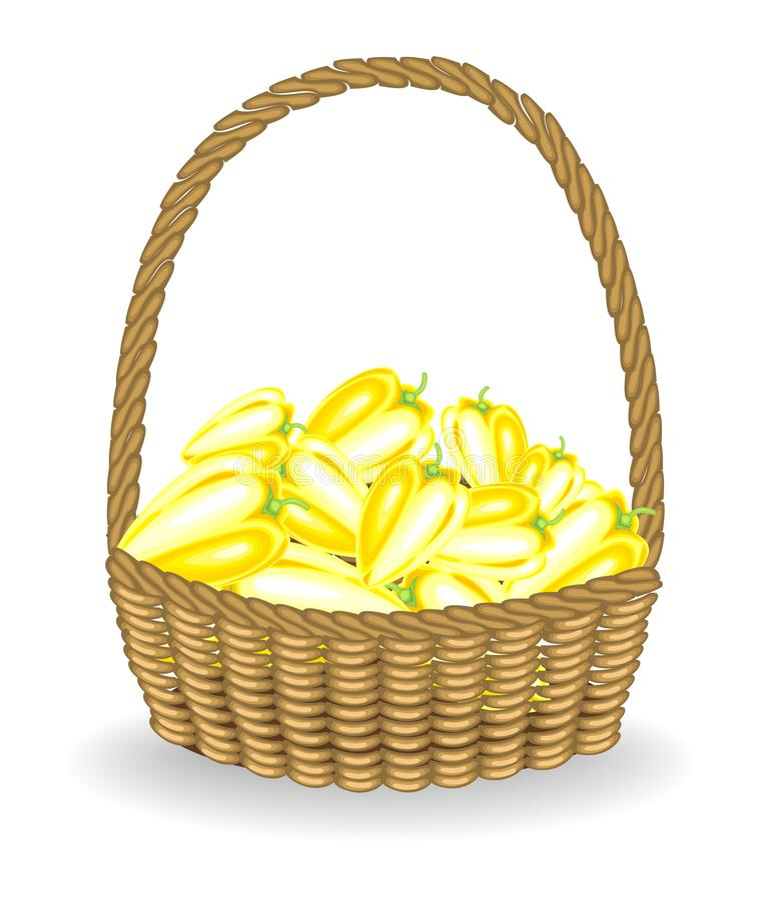 Cosecha abundante en una pimienta fresca hermosa de la cesta de mimbre Las verduras son muy sabrosas y vitamina Es necesario para libre illustration