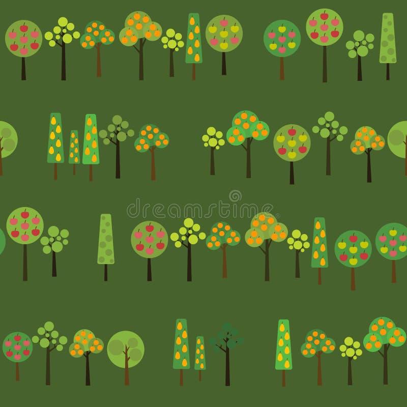 Cosecha de árboles frutales Textura con la diversos manzana, naranja y perales en el jardín ilustración del vector