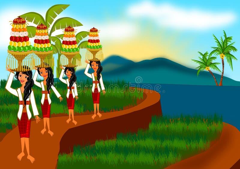 Cosecha de ceremonia en Bali stock de ilustración