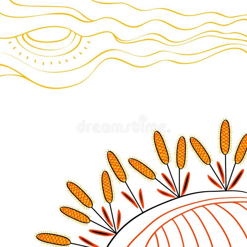 Cosecha del fondo Trigo exhausto de la mano en el campo libre illustration