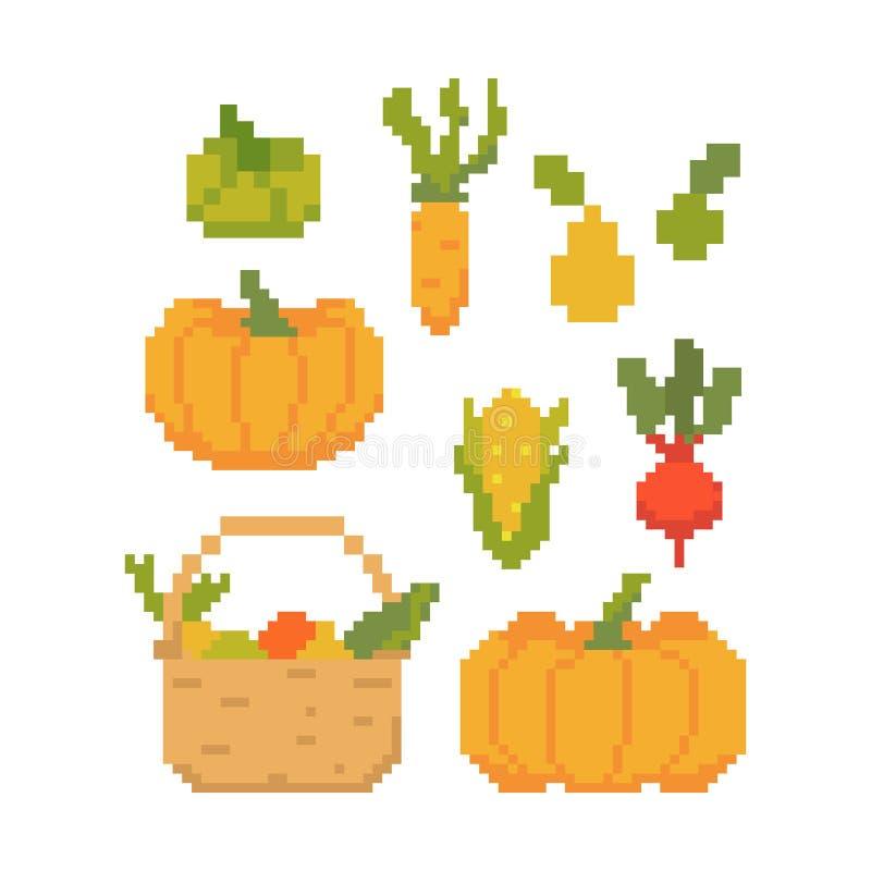 Cosecha del otoño de las frutas y verduras aisladas en el fondo blanco Gráficos para los juegos ejemplo del vector de 8 pedazos e ilustración del vector