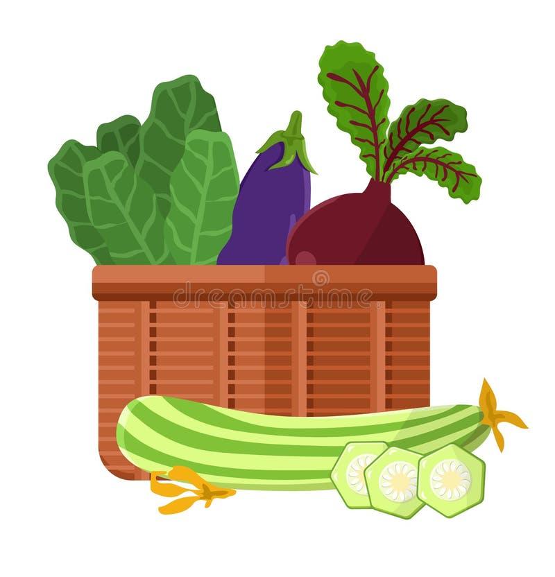 Cosecha en el ejemplo del vector de la colección de la cesta libre illustration