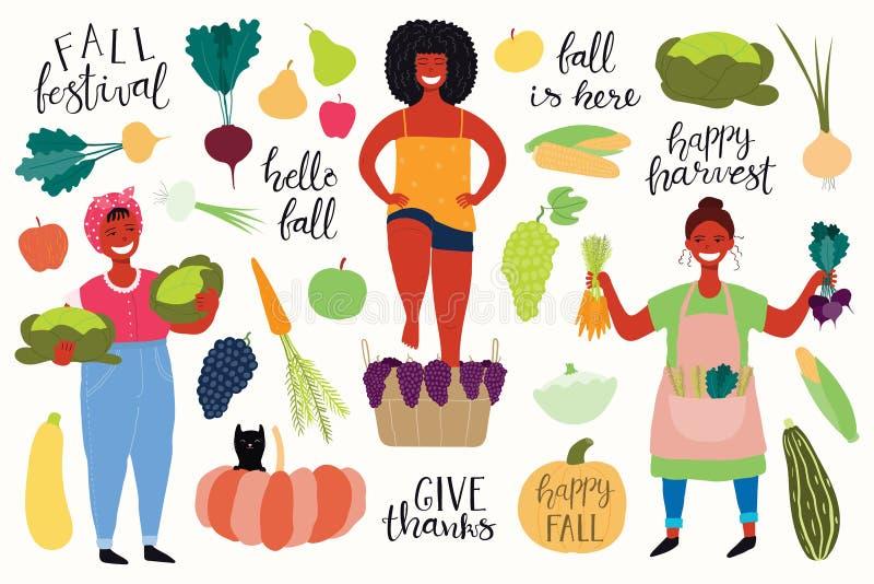 Cosecha fijada con las muchachas, citas, frutas, verduras libre illustration