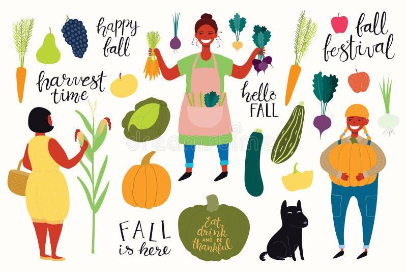 Cosecha fijada con las muchachas, citas, frutas, verduras ilustración del vector