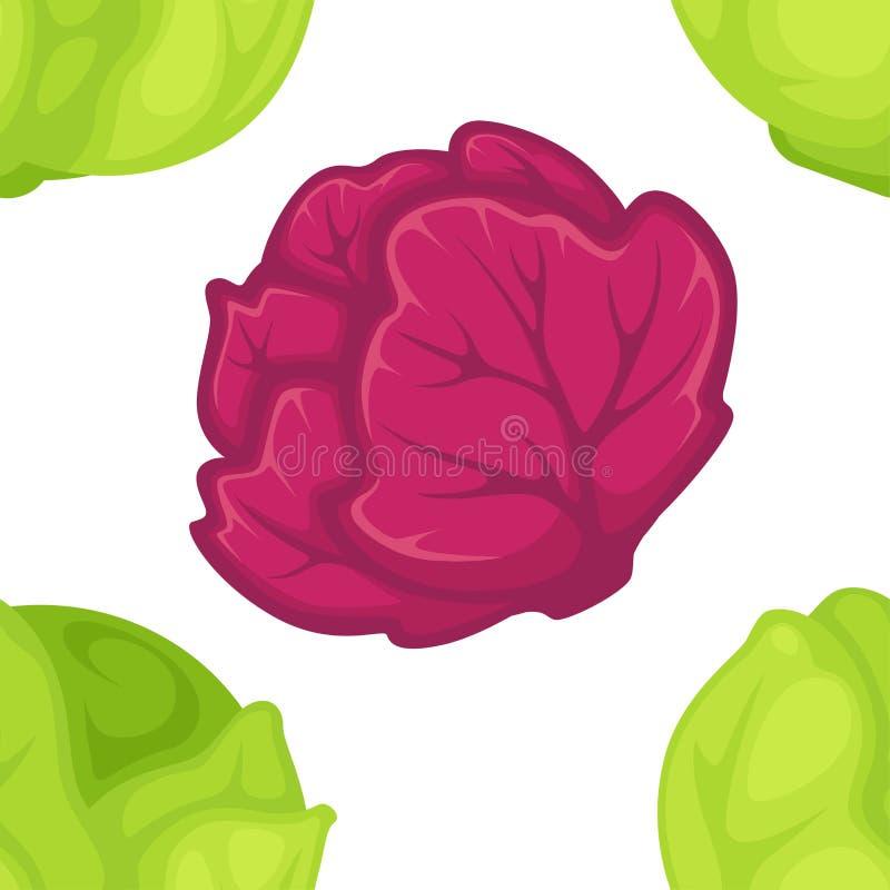Cosecha vegetal del modelo inconsútil verde y púrpura de la col stock de ilustración