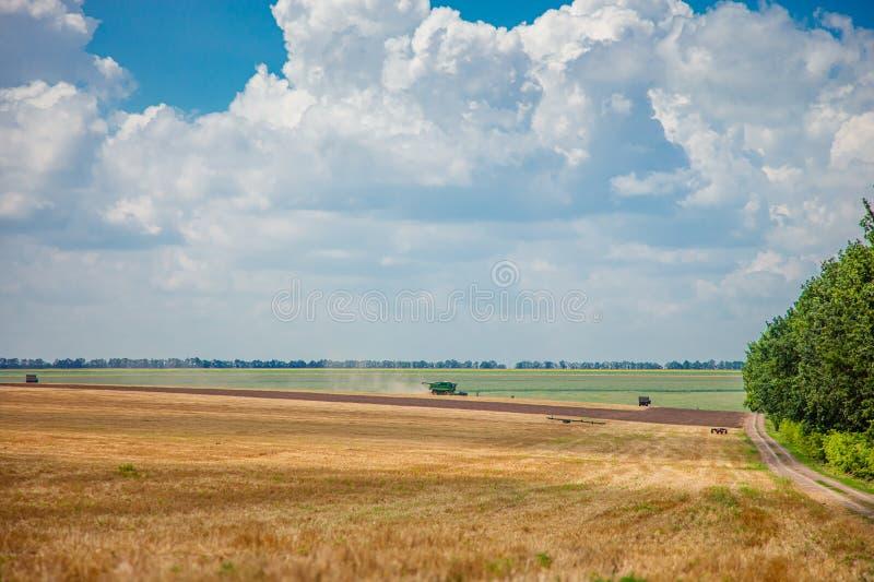 Cosechadora en el campo cosecha paisaje rural de cielo y campo imagen de archivo