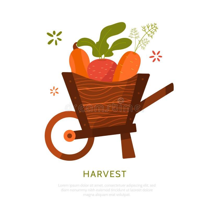 Coseche el carro con las remolachas, la zanahoria y la calabaza aisladas en el fondo blanco Concepto de la cosecha stock de ilustración