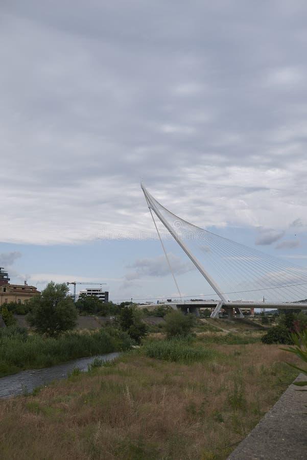 Santiago Calatrava bridge. Cosenza, Italy - June 13, 2018 : Santiago Calatrava bridge in Cosenza stock photo