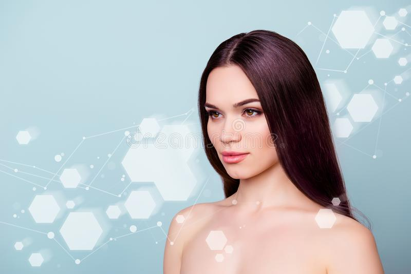 Coseup photo of pretty young she her brunette woman looking empty spase copyspace fresh healthy attractive wellbeing vector illustration