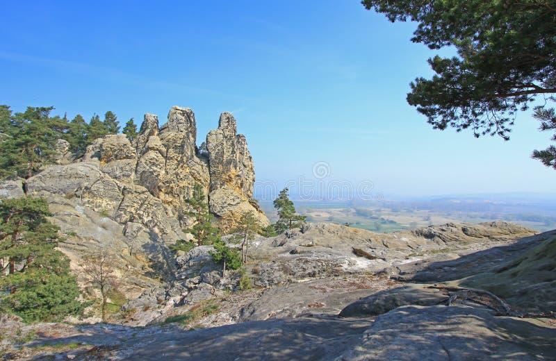 Cosiddetta parete dei diavoli, montagne di Harz, Germania fotografie stock libere da diritti