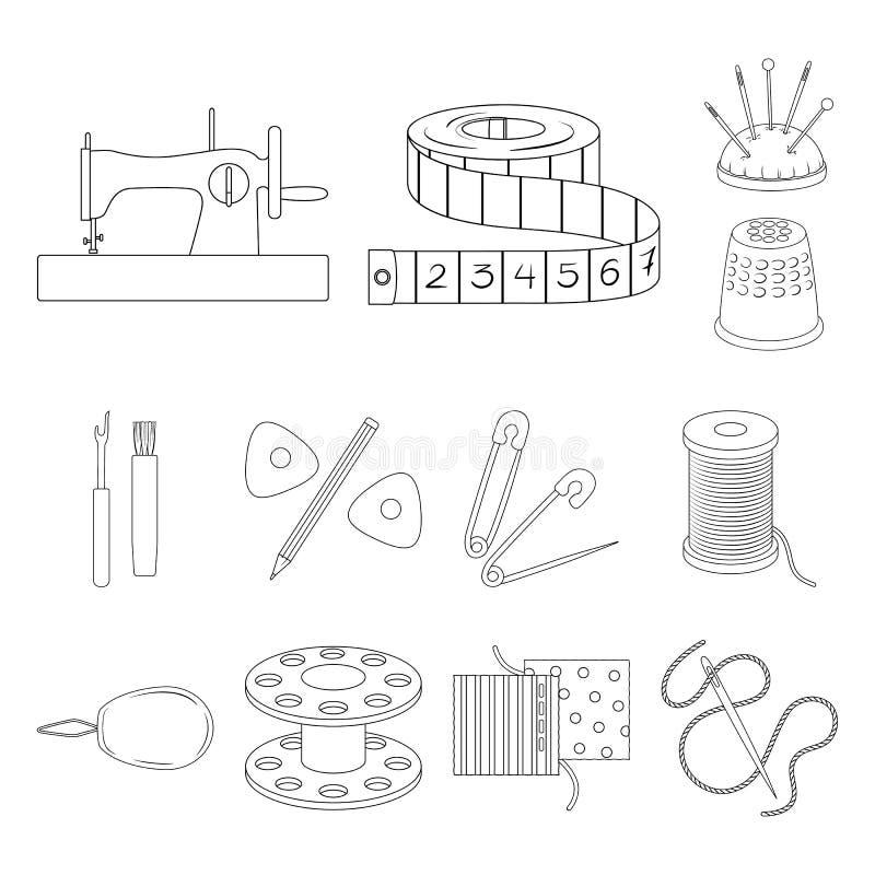 Cosiendo, iconos del esquema del taller en la colección del sistema para el diseño Ejemplo del web de la acción del símbolo del v stock de ilustración