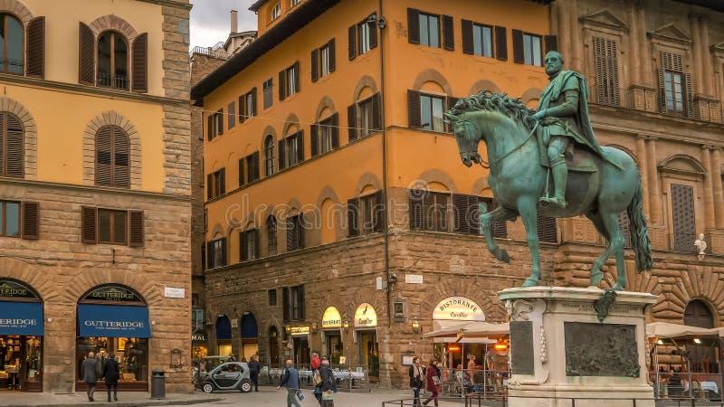 Cosimo de在马背上梅迪奇雕象,佛罗伦萨,意大利 库存图片