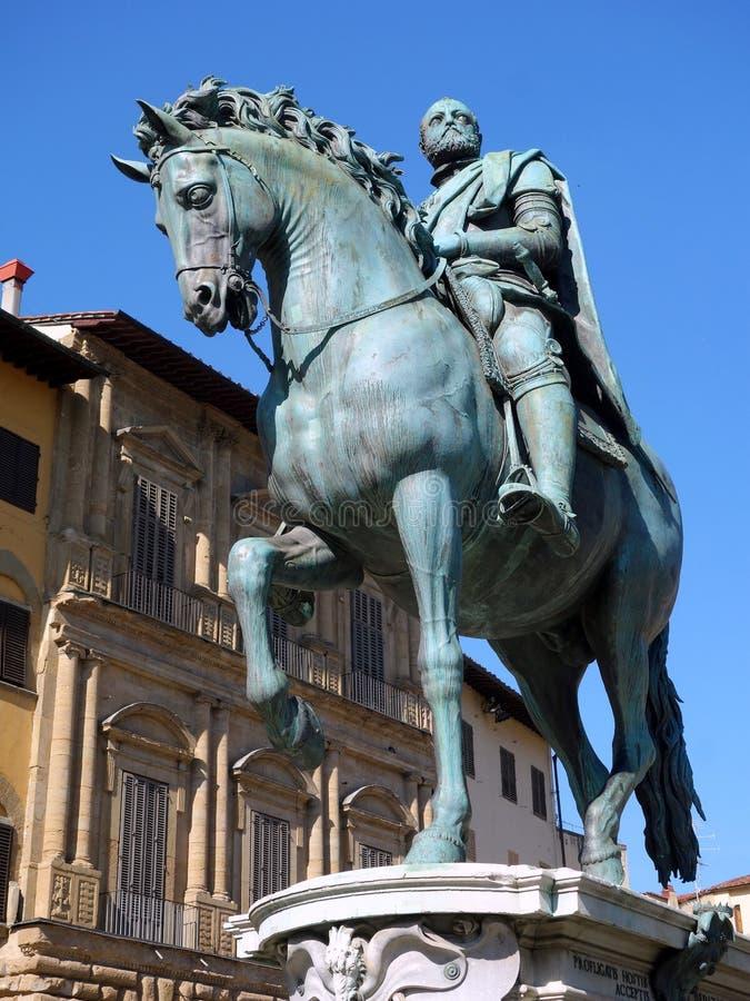 Cosimo de Medici Statue, cavallo bronzeo e cavaliere, Firenze fotografia stock