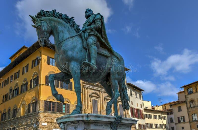 Cosimo I de` Medici - Florence, Italy. Equestrian statue of Cosimo I de` Medici on the Piazza della Signoria, by Giambologna. Florence, Italy stock photos