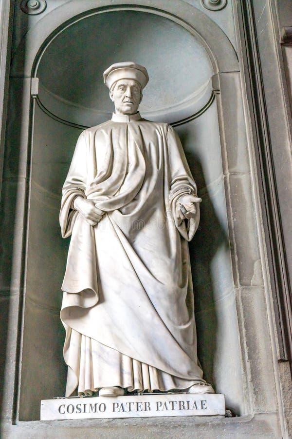 Cosimo Medici Statue Uffizi Gallery Florence Italy. Cosimo Medici Father Medici Clan Statue Uffizi Gallery Florence Italy. Statue by Luigi Magi in early 1800s stock image