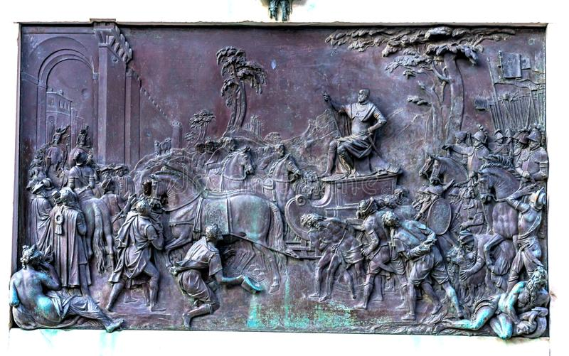 Cosimo 1 Medici-Statuen-führender Armee-Marktplatz Signoria Florence Ita lizenzfreies stockbild