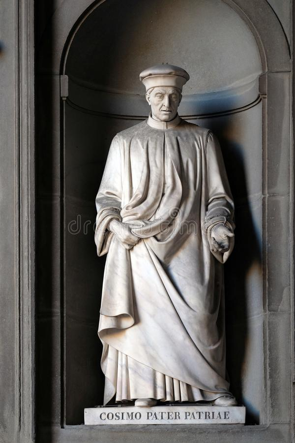 Cosimo Pater Patriae, statue in the Niches of the Uffizi Colonnade in Florence. Cosimo Pater Patriae, statue in the Niches of the Uffizi Colonnade. The first royalty free stock photos
