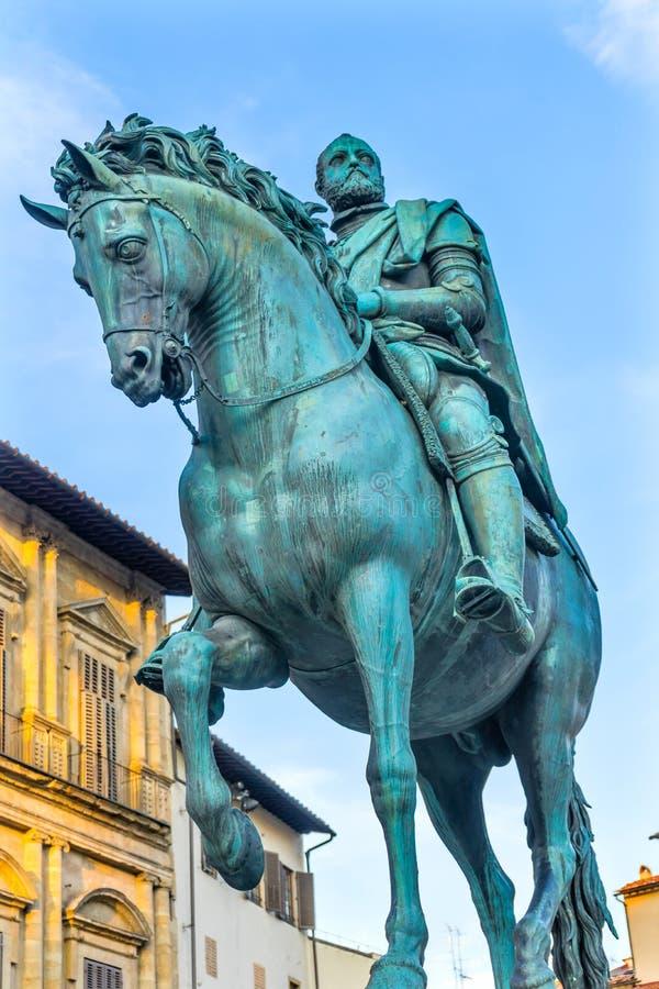 Cosimo 1 piazza equestre Signoria Florence Italy della statua di Medici fotografia stock libera da diritti