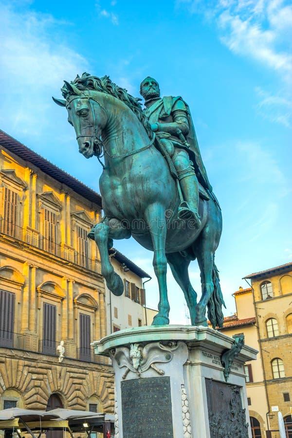 Cosimo 1 piazza equestre Signoria Florence Italy della statua di Medici fotografie stock libere da diritti