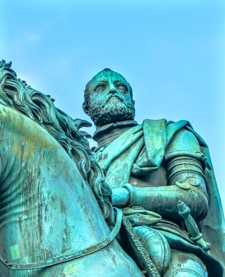 Cosimo 1 piazza equestre Signoria Florence Italy della statua di Medici fotografia stock