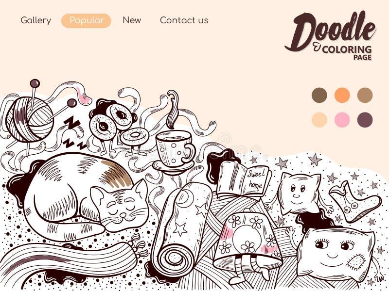 Cosiness colorindo em linha da casa da página ilustração do vetor