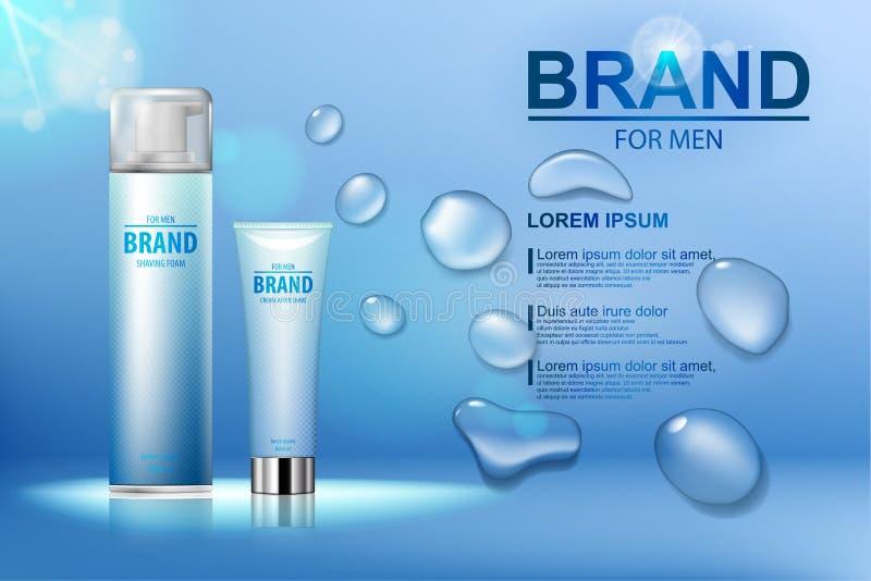 Cosmético del embalaje después de la crema del afeitado y espuma el afeitar con un logotipo en fondo del agua azul con descensos  libre illustration