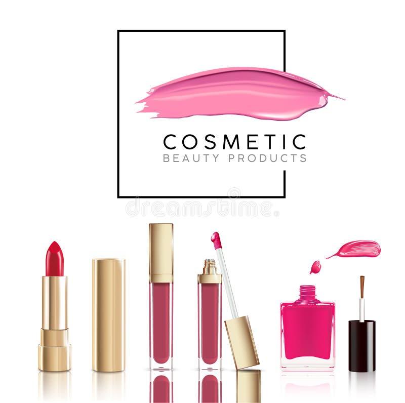 Cosmético hermoso fijado en oro lápiz labial, lustre del labio y esmalte de uñas con la mancha Vector cosmético realista del maqu stock de ilustración