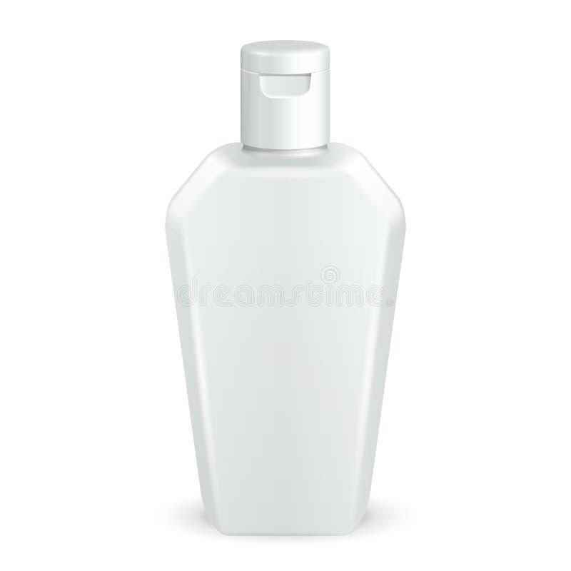 Cosmético, higiene, garrafa plástica branca do Grayscale médico do gel, sabão líquido, loção, creme, champô ilustração do vetor