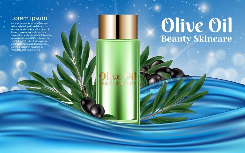 Cosmético natural del cuidado de piel de la materia orgánica Aceite de oliva Los anuncios superiores del cartel del tubo del banc stock de ilustración