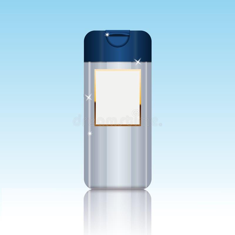 Cosmético que empacota o molde plástico da garrafa do gel do champô ou do chuveiro ilustração stock