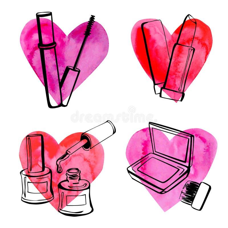 Cosméticos com corações ilustração stock