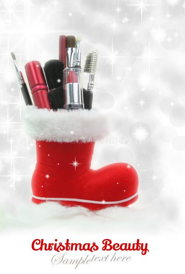 Cosméticos da mulher do Natal fotografia de stock royalty free