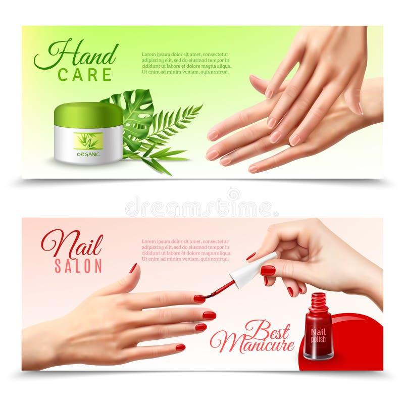 Cosméticos del cuidado de la mano 2 banderas realistas ilustración del vector