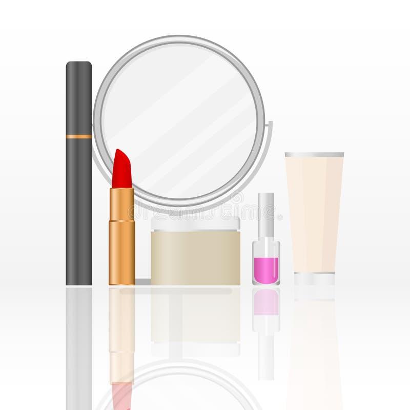 Cosméticos del ` s de las mujeres un sistema de cosméticos femeninos Espejo, lápiz labial, crema de cara, rimel libre illustration