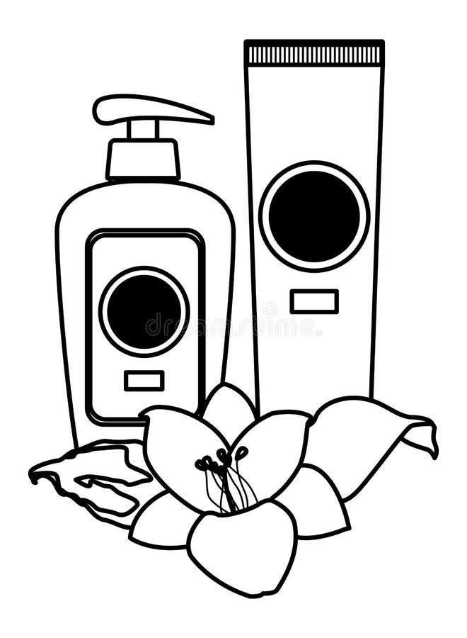 Cosméticos dos bronzers de Sun com as flores em preto e branco ilustração stock