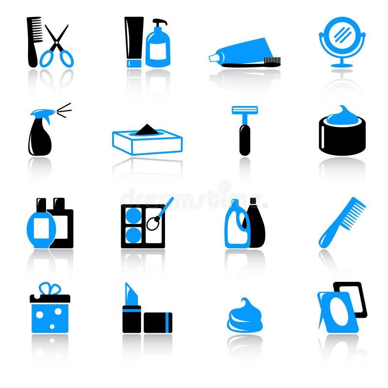 Cosméticos e ícones da higiene ilustração stock