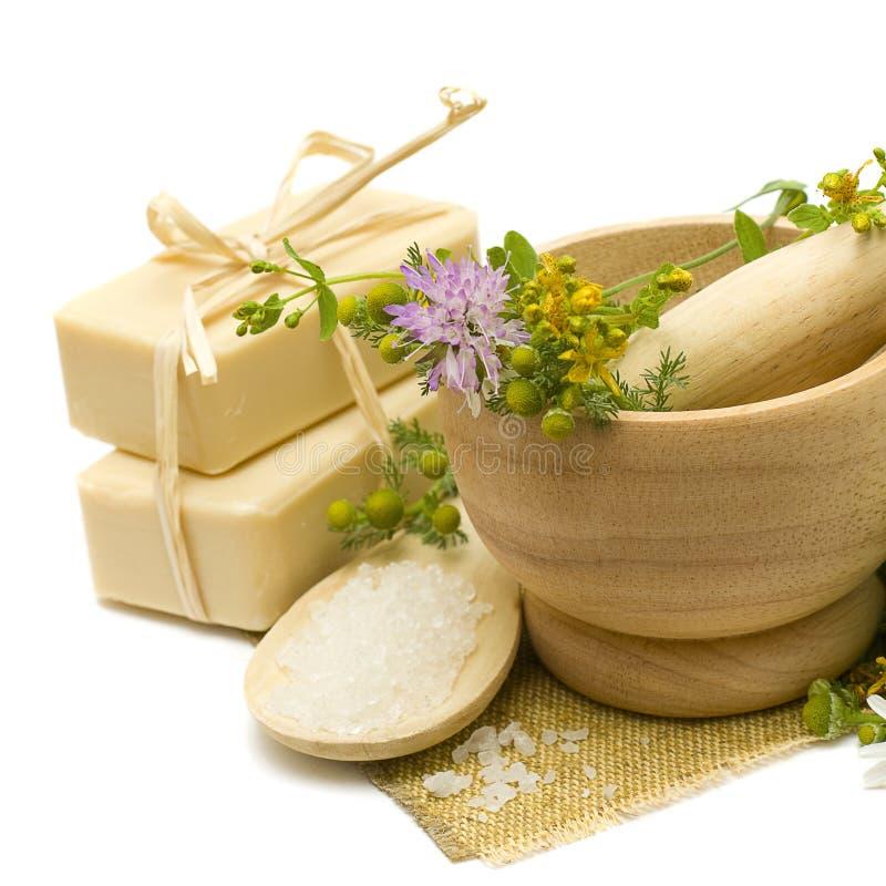 Cosméticos e ervas naturais da medicina fotos de stock