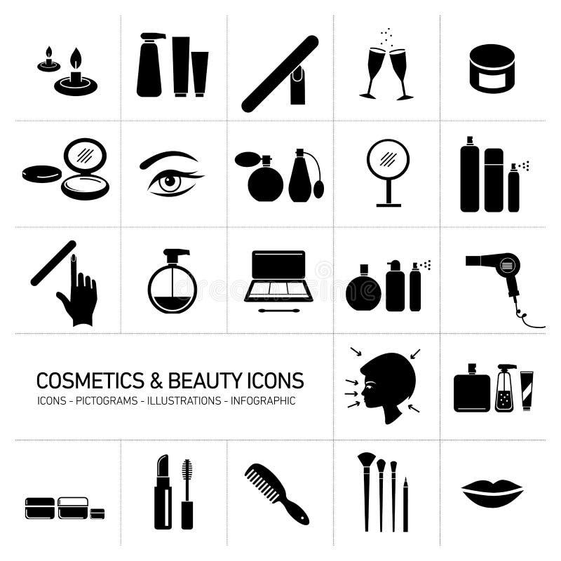 Cosméticos e iconos de la belleza fijados stock de ilustración