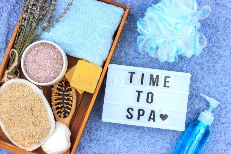 Cosméticos ervais naturais dos termas com extrato da alfazema - sabão, sal, toalha, escova da massagem, toalha de rosto imagem de stock royalty free
