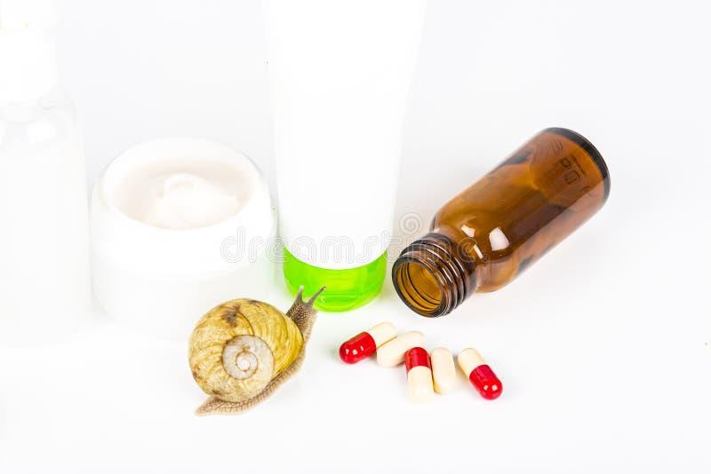 Cosméticos feitos com limo do caracol Produtos muito saudáveis e orgânicos foto de stock