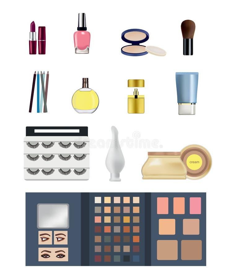 Cosméticos: lápiz labial, lustre del labio, sombras y rimel, perfume, crema stock de ilustración