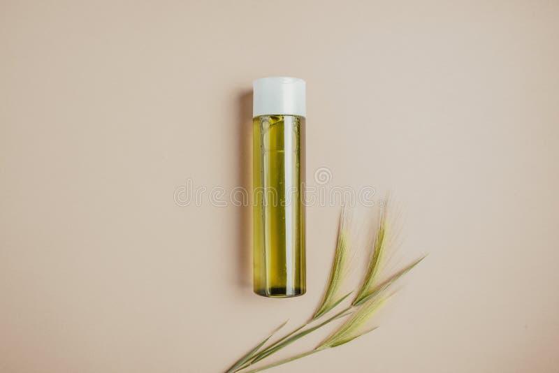 Cosméticos naturais, soro para o cabelo e cuidados com a pele O conceito de cosméticos orgânicos, naturais Configuração lisa, min imagem de stock royalty free